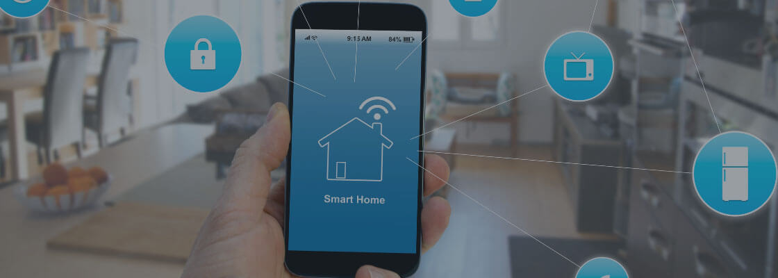 man holding a smartphone with smart home management