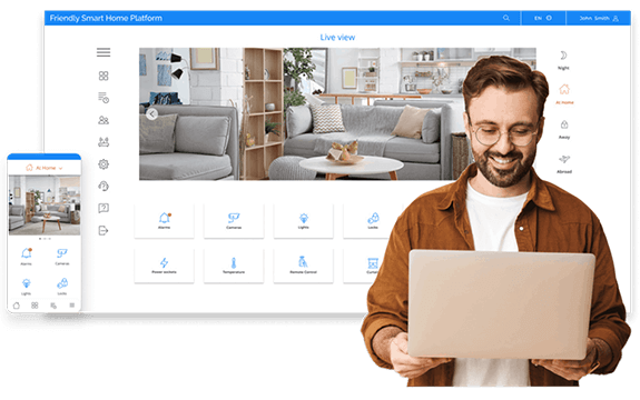 Man with laptop in front of Smart Home Platform